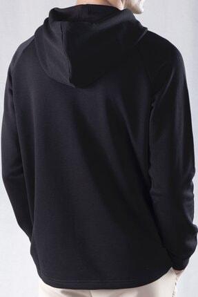 tinbasic Kapşonlu %100 Pamuk Örme Erkek Sweatshirt Hoodie - Siyah 3