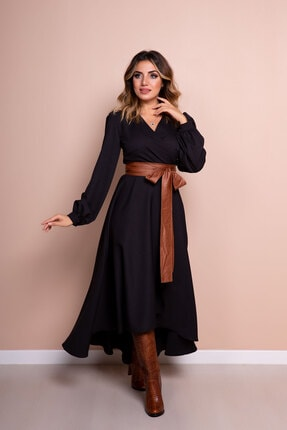 Bidoluelbise Kadın Siyah Taba Deri Kemerli Uzun Kol Asimetrik Kesim Elbise 0