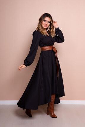 Bidoluelbise Kadın Siyah Taba Deri Kemerli Uzun Kol Asimetrik Kesim Elbise 2