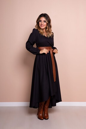 Bidoluelbise Kadın Siyah Taba Deri Kemerli Uzun Kol Asimetrik Kesim Elbise 3