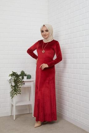 MODA STORE Kadın Bordo Kolyeli Kadife Tesettür Elbise 5473 0