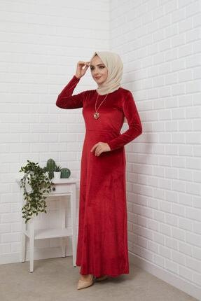 MODA STORE Kadın Bordo Kolyeli Kadife Tesettür Elbise 5473 1