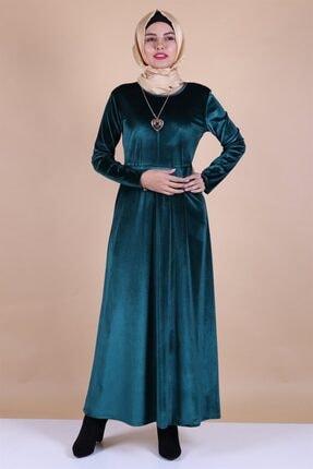 MODA STORE Kadın Mavi Kadife Kolyeli Tesettür Elbise 5473 2