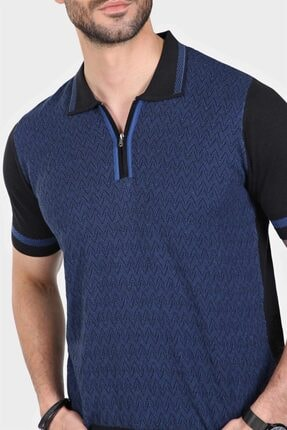Ferraro Erkek Siyah  Desenli Yakası Çizgili Polo Yaka Triko T-shirt 2