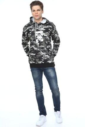 Millionaire Erkek Haki Siyah Kamuflajlı Oversize Off Baskılı Sweatshirt 3