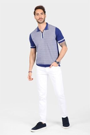 Ferraro Erkek Mavi Desenli Yakası Çizgili Polo Yaka Triko T shirt 0
