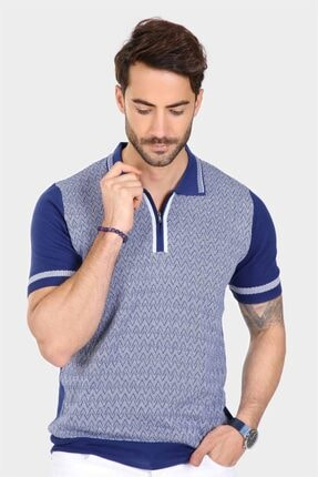 Ferraro Erkek Mavi Desenli Yakası Çizgili Polo Yaka Triko T shirt 1
