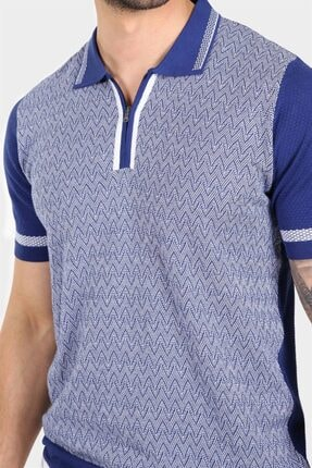 Ferraro Erkek Mavi Desenli Yakası Çizgili Polo Yaka Triko T shirt 2