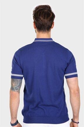 Ferraro Erkek Mavi Desenli Yakası Çizgili Polo Yaka Triko T shirt 4