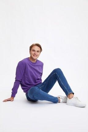 Defacto Erkek Mor Bisiklet Yaka Regular Fit Basic Sweatshirt 1