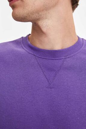 Defacto Erkek Mor Bisiklet Yaka Regular Fit Basic Sweatshirt 2