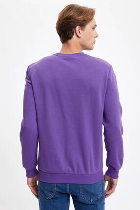 Defacto Erkek Mor Bisiklet Yaka Regular Fit Basic Sweatshirt 3