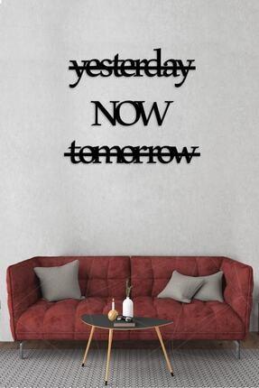 Alfanua Ingilizce Zaman Harfli Ahşap Mdf Dekoratif Tablo - Dekoratif Duvar Yazısı - Yesterday Now Tomorrow 0