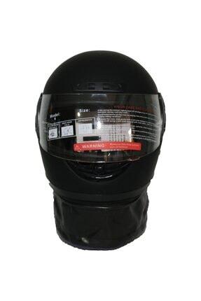 Monero Mat Siyah Renk - Sök Tak Boyun Derili Kalitesinde Tam Kapalı Kask 2