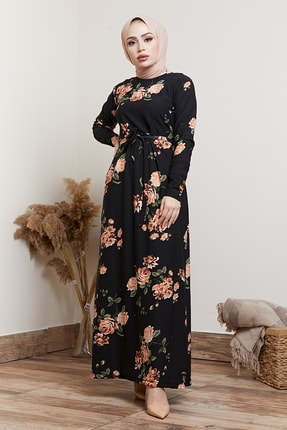 MODAEFA Kadın Siyah Çiçek Desenli Tesettür Elbise 0