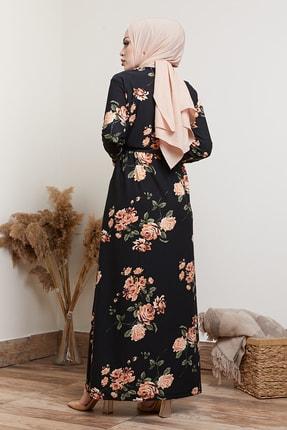 MODAEFA Kadın Siyah Çiçek Desenli Tesettür Elbise 3