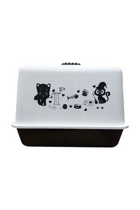 Çiftsan Kırılmaz Kapaklı Büyük Lüks Kapalı Kedi Tuvaleti Beyaz 1