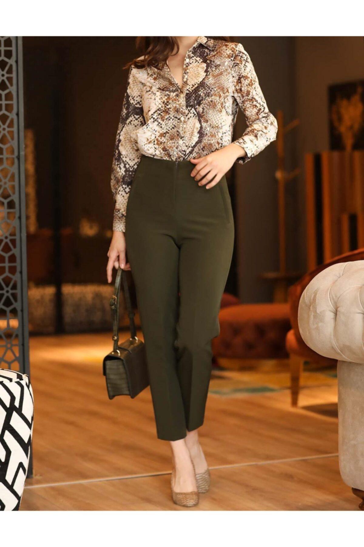ZARAZA Kadın Haki Yüksek Bel Dikiş Detaylı Pantolon