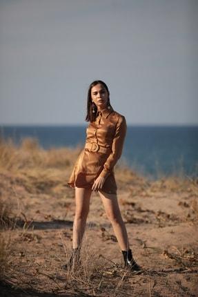 Kadın Altın Renkli Kemerli Elbise ELB2020016
