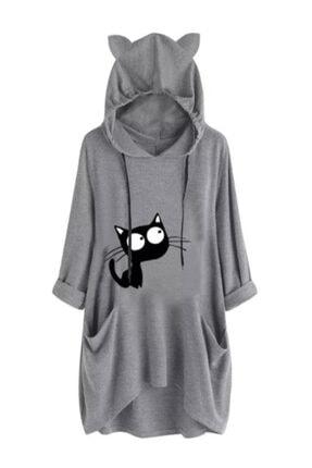 ELBİSENN Kadın Gri Kedi Kulak Kapüşonlu Baskılı Spor Elbise 0
