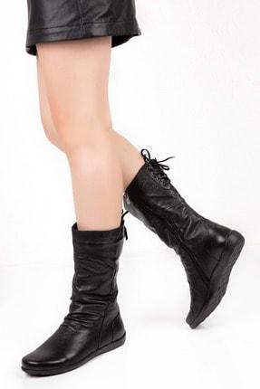 Gondol Kadın Siyah Deri Sıcak Astar Yumuşak Dokulu Çizme 0