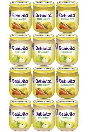 Bebivita Kavanoz Maması Karma Koli 12 Li Set (sebze Karışımı- Elma Püresi) 0