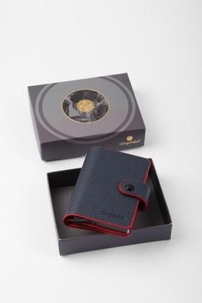 Picture of Gerçek Deri Mekanizmalı Lacivert-kırmızı Kartlık-cüzdan