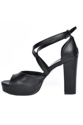 Ayakland 3210-2058 Cilt Abiye 11 Cm Platform Topuk Bayan Sandalet Ayakkabı 3