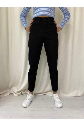 ETC Butik Tam Siyah Yüksek Bel Mom Boyfriend Likrasız Kot Pantolon 3
