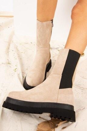Fox Shoes Kadın Bej Süet Bot J267063102 2