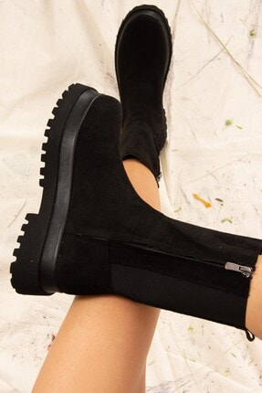 Fox Shoes Kadın Siyah Süet Bot J267063102 0