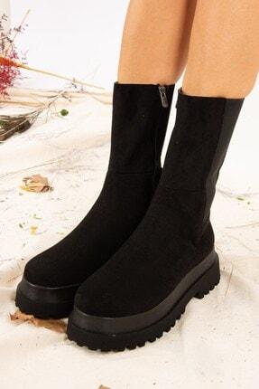Fox Shoes Kadın Siyah Süet Bot J267063102 2
