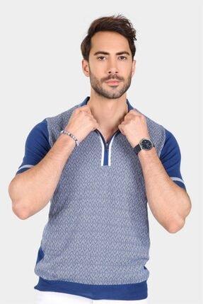 Ferraro Erkek Saks Desenli Yakası Çizgili Polo Yaka Triko T-shirt 1