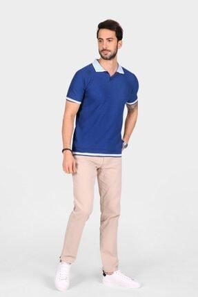 Ferraro Erkek Mavi Yaka Detaylı Pike Örgülü Polo Yaka Düğmeli Triko T-shirt 1
