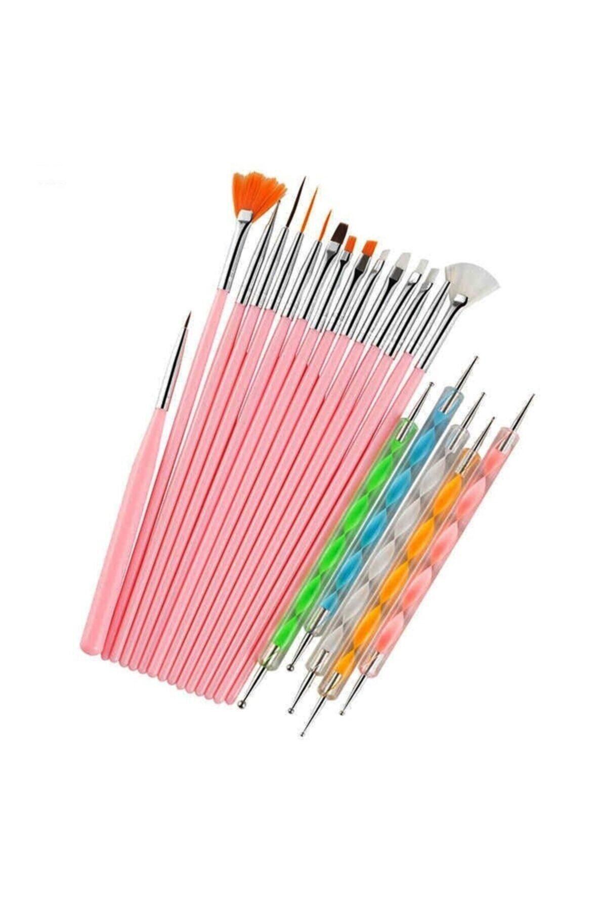 20 Parça Nail Art Tırnak Süsleme Desen Fırça Ve Dot Kalem Seti Pembe