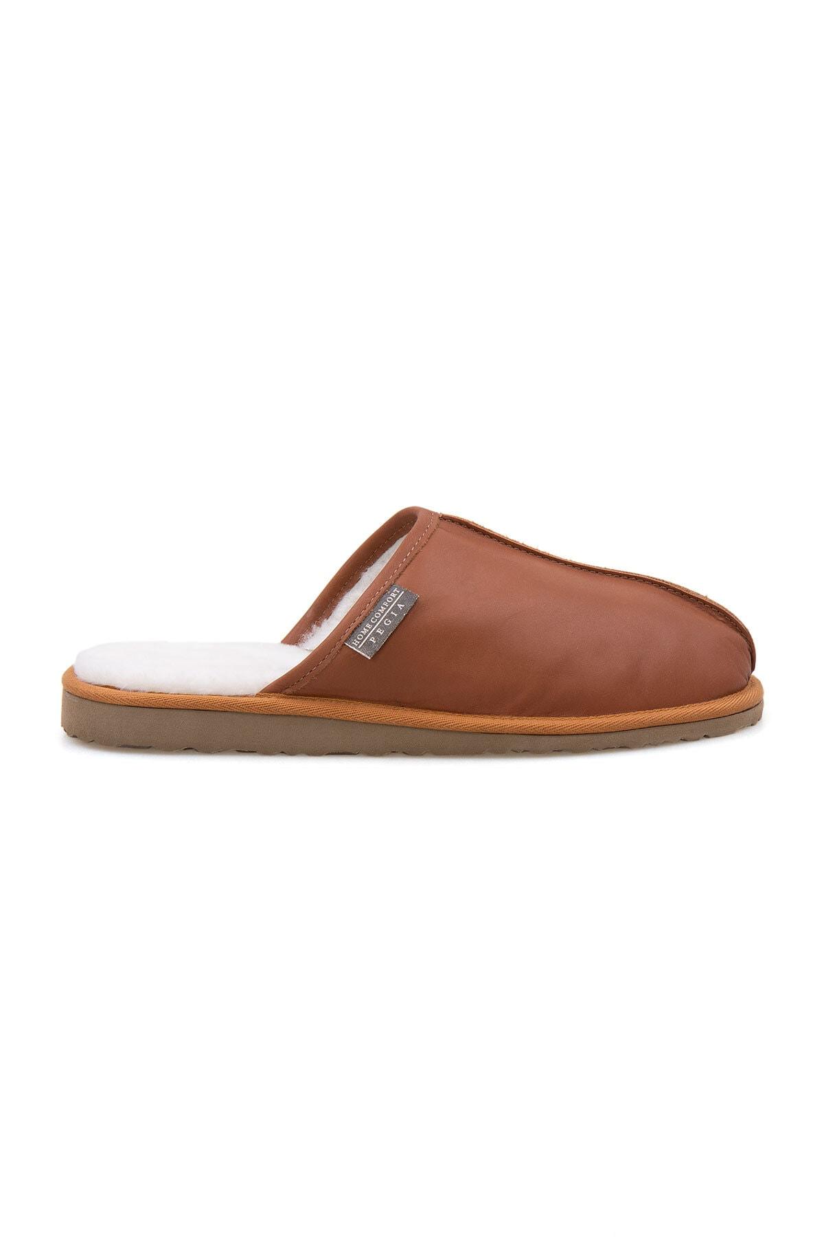 Pegia Erkek Taba Deri Kürklü Ev Ayakkabısı 111012 0