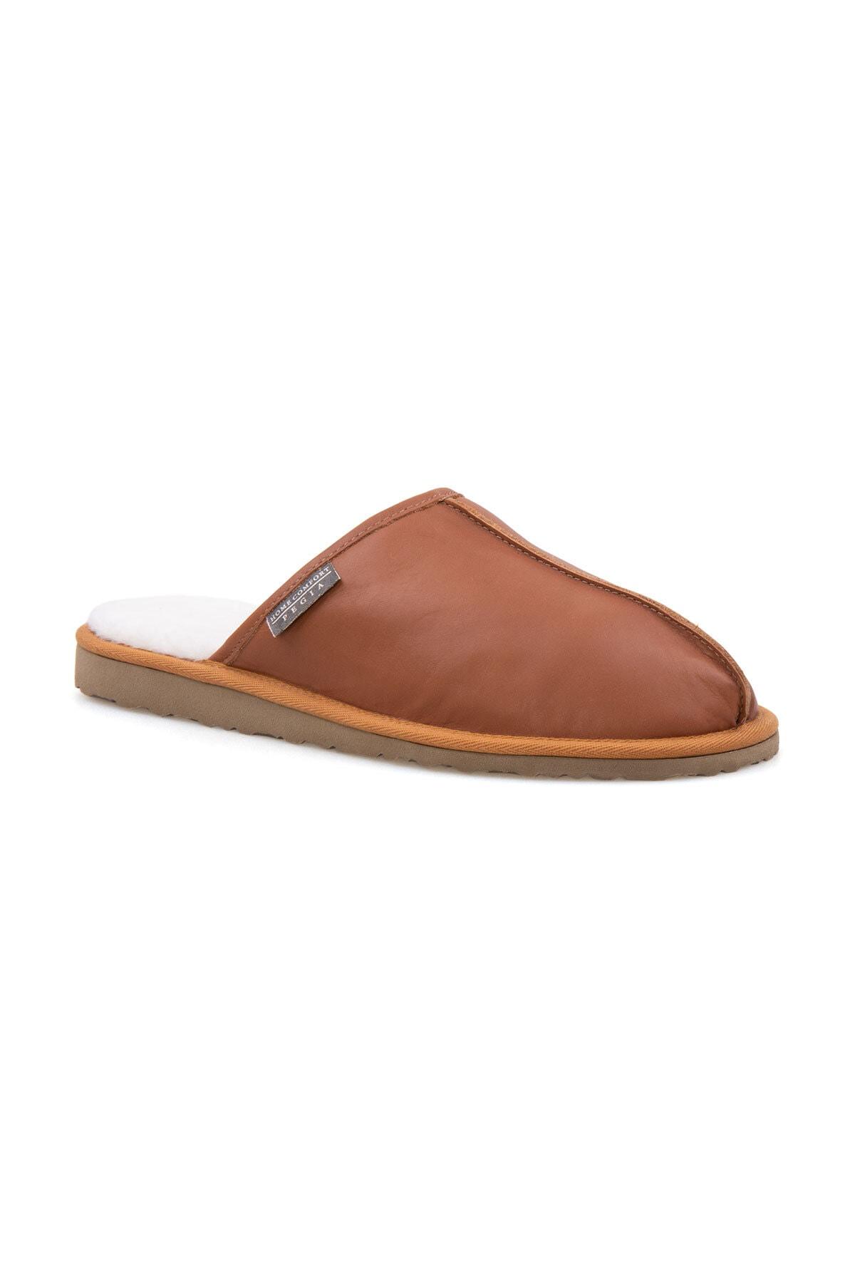 Pegia Erkek Taba Deri Kürklü Ev Ayakkabısı 111012 1