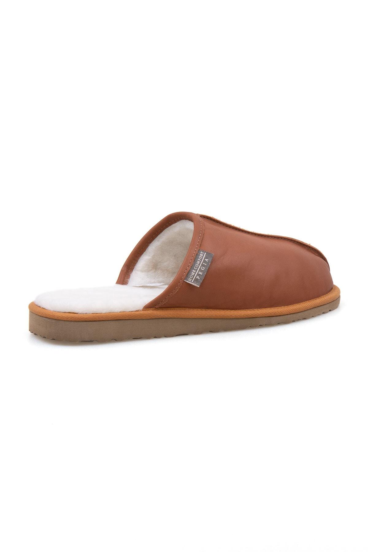Pegia Erkek Taba Deri Kürklü Ev Ayakkabısı 111012 2
