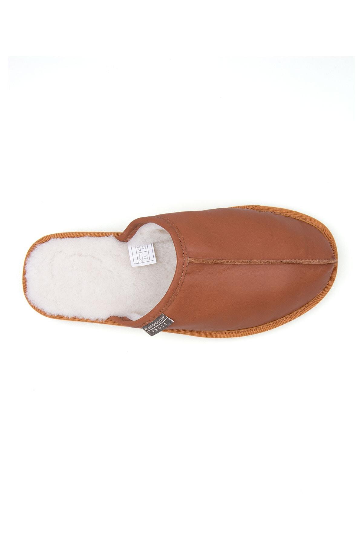 Pegia Erkek Taba Deri Kürklü Ev Ayakkabısı 111012 3