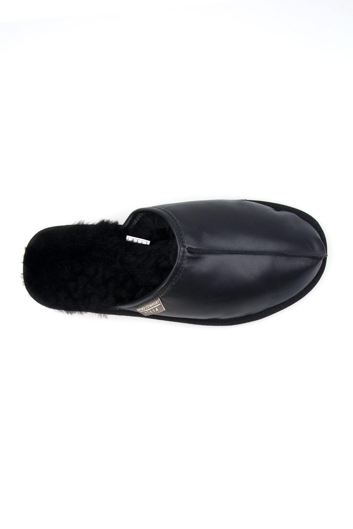 Pegia Erkek Siyah Deri Kürklü Ev Ayakkabısı 111012 3