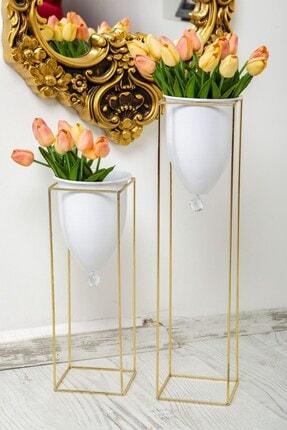 Tasarım Evi Altın Renkli 2'li Büyük Ayaklı Vazo, Çiçeklik, Saksılık 1