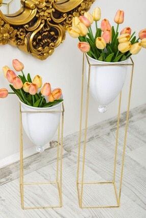 Tasarım Evi Altın Renkli 2'li Büyük Ayaklı Vazo, Çiçeklik, Saksılık 2