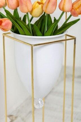 Tasarım Evi Altın Renkli 2'li Büyük Ayaklı Vazo, Çiçeklik, Saksılık 3