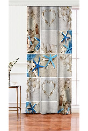 Realhomes Tek Kanat Deniz Yıldızı Dijital Baskılı Dekoratif Salon Fon Perdesi 0