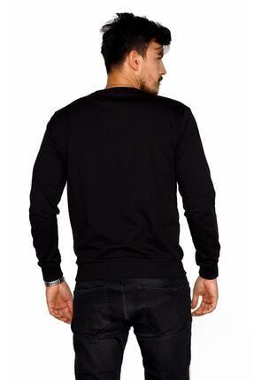 BESSA Erkek Siyah Bisiklet Yaka Pamuklu Sweatshirt 4