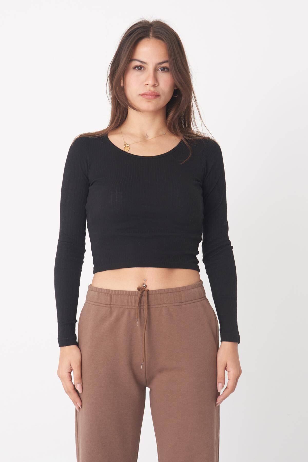 Addax Kadın Siyah Uzun Kollu Bluz B1069 - W12 Adx-0000023026 0