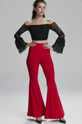 adL Kadın Kirmizi İspanyol Paça Pantolon 0