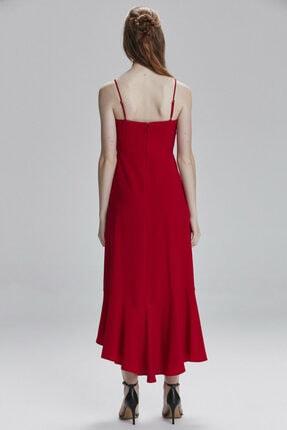 Kadın Kirmizi Etek Ucu Volanlı Elbise resmi