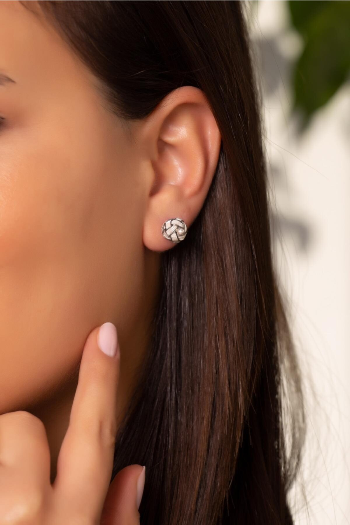 Kadın Kazaziye El Sarması Mini Gümüş Küpe 491
