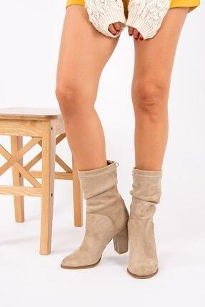 Wenti Shoes Kadın Vizon Süet Topuklu Bot 2